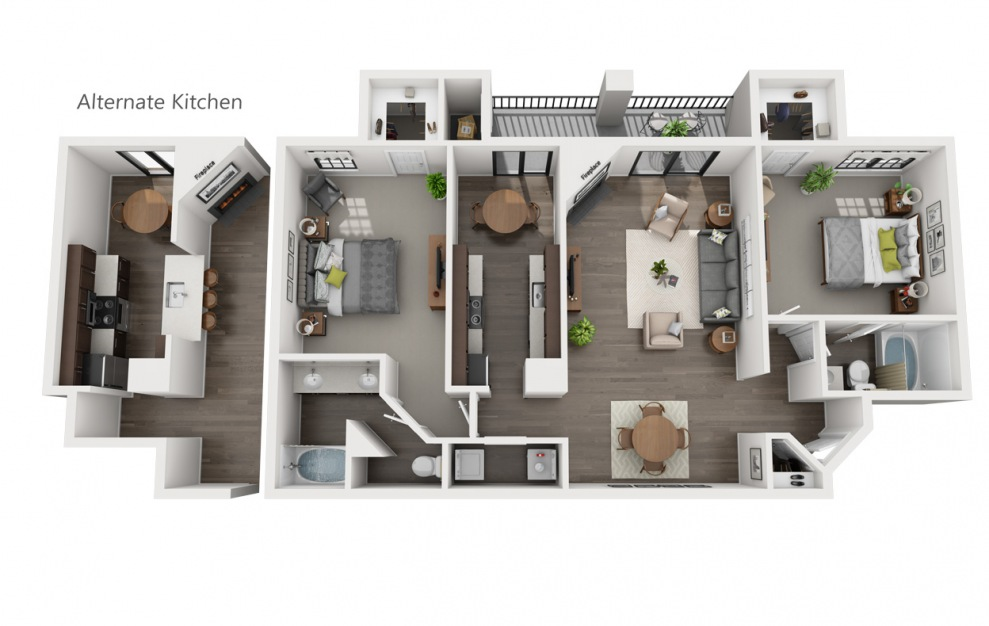 B2 - 2 bedroom floorplan layout with 2 baths and 1209 square feet. (3D)