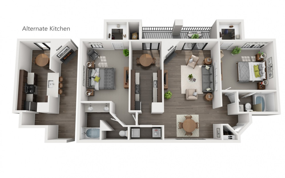 B2 - 2 bedroom floorplan layout with 2 baths and 1209 square feet. (3D / 2D)